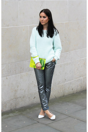 aquamarine H&amp;M jumper - yellow Kurt Geiger bag - silver Zara pants - Zara heels