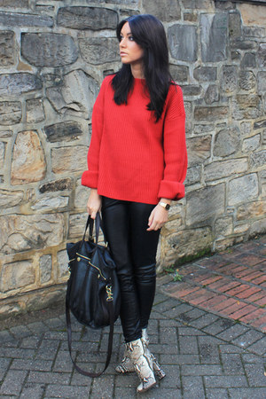 red H&M jumper - beige Zara boots - Mulberry bag - black Topshop pants