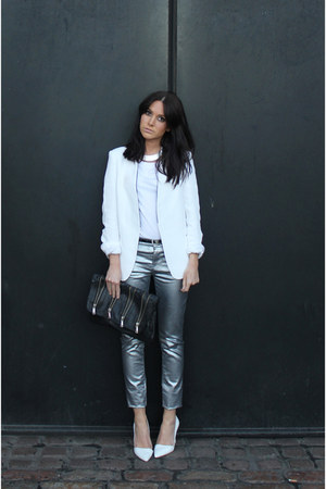 Zara blazer - metallic Zara jeans - Topshop bag - Topshop necklace - H&M t-shirt