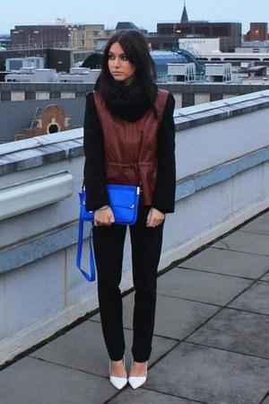 blue Zara bag - brick red H&M jacket - black Zara pants - white Zara heels