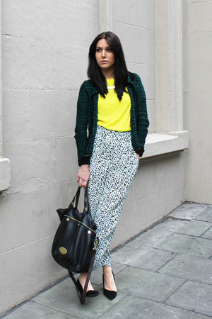 aquamarine H&amp;M pants - Mulberry bag - yellow H&amp;M t-shirt - H&amp;M necklace