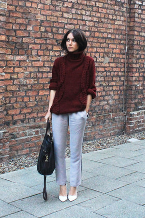 maroon Topman jumper - black Mulberry bag - white Zara heels
