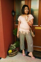 beige Vila top - brown purse - white Pennys bracelet - green Monsoon pants - pin