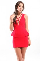 Multi Strap Peplum Dress 