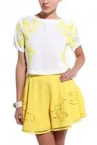 white Akira top - yellow Akira skirt