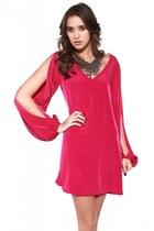periwinkle Akira necklace - hot pink Akira dress