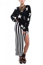 white Akira skirt - black Akira sweater - black Jeffrey Campbell pumps