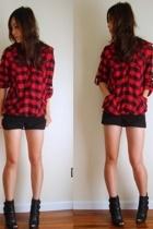 Hooded Buffalo Flannel Plaid Shirt Tunic Dress