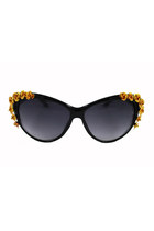 Gold Floral Beaded Cat Eye Sunglasses