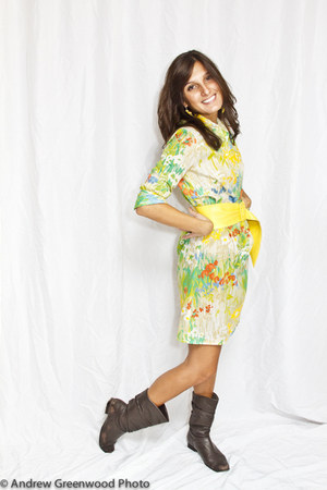 chartreuse shirt dress Modern Vintage dress