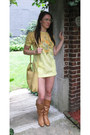 Bronze-leather-zara-boots-light-yellow-mod-modern-vintage-dress