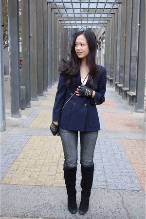 vintage blazer - DIY studded gloves - Chanel purse - fidelity jeans - town shoes