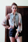 Leather-vintage-shorts-ascot-pastels-vintage-blouse