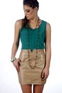 Dark-khaki-leather-vintage-skirt