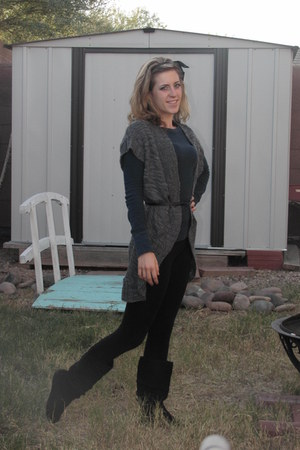 gray Mossimo sweater - navy Jcpenny shirt - black Dillards tights - black gojane