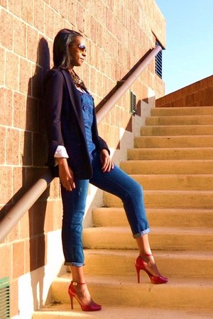 navy overalls free people jeans - navy Club Monaco blazer