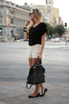 Parfois bag - Queens Wardrobe shorts - Jason Wu flats - pepa loves blouse