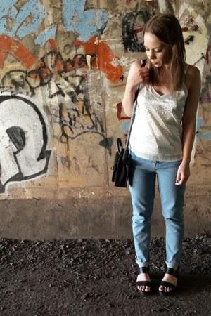 black Primark bag - blue Primark jeans - black asos sandals