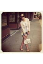 denim 7 for all mankind shorts - sequin Zara blazer - kate spade bag