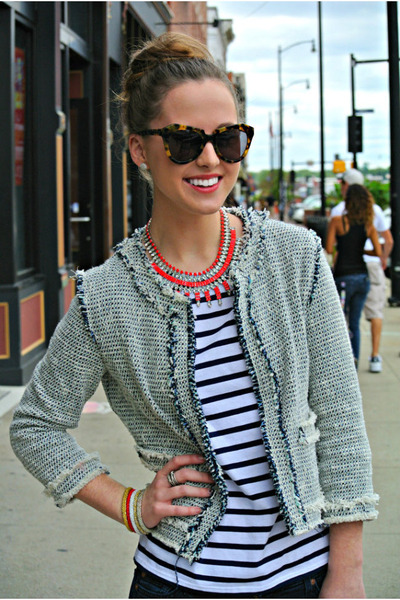 red statement ann taylor necklace - blue tweed Zara jacket