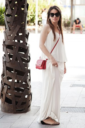 white maxi Zara dress - red shoulder bag Zara bag - black paname dior sunglasses