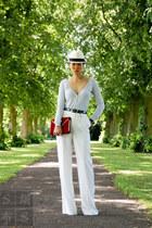 ruby red Reiss bag - white Mango pants - silver Jigsaw cardigan