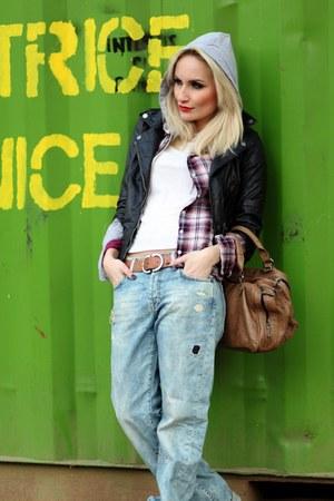 tan Zara bag - light blue H&M jeans - black Bershka jacket - purple LTB shirt