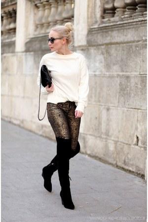 gold Mango pants - black Zara boots - black Zara bag - eggshell mesora blouse