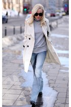 eggshell Mango coat - sky blue H&M jeans - heather gray Zara jumper