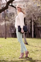 tan asoscom pumps - black no name purse - ivory Zara jumper