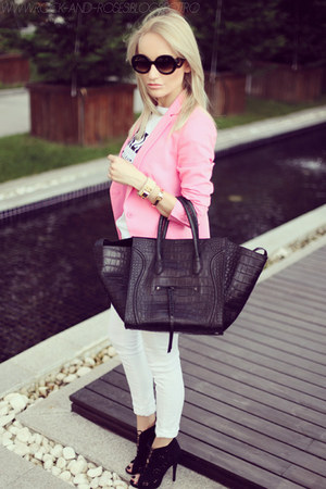 black Celine bag - bubble gum Zara blazer - black zeroUV sunglasses