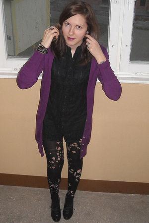 black Primark boots - black DIY tights - black Stradivarius shirt - purple Prima