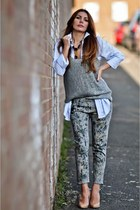 simona mar necklace - IRO jeans - asos shirt - knit Vila vest - H&M wedges