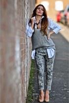 simona mar necklace - IRO jeans - asos shirt - knit Vila vest - H&M wedges