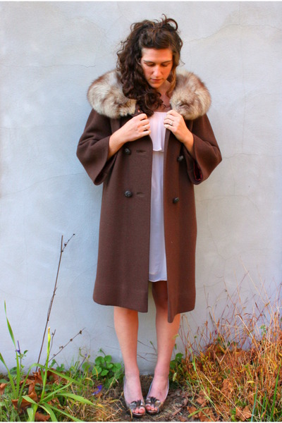 brown vintage coat - pink H&M dress - gold Target shoes