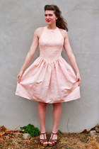 light pink thrifted vintage dress - brown leather braided Steve Madden wedges