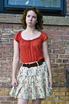 orange Self Esteam blouse - brown vintage belt - beige from japan skirt