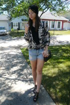 thrifted jacket - f21 shorts - headband f21 - UrbanOG shoes