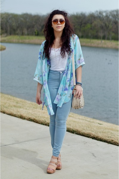 GoJane jeans - vera wang wedges - thrifted blouse
