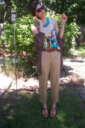 import store necklace - f21 top - thrifted pants - Rackroom Shoes shoes - fred f