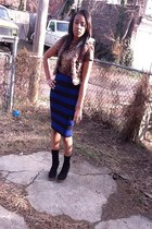 boots - cheetah print shirt - socks - striped skirt skirt - fur vest