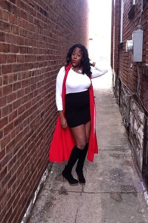 red cardigan - white shirt - black skirt - black heels