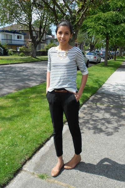white JCrew t-shirt - black Zara pants - nude Zara flats - Aldo necklace