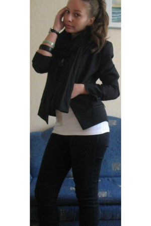 Monton jacket - seppala jeans - seppala scarf - Zara top - Mango bracelet