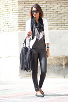 white Mango blazer - dark gray Zara t-shirt