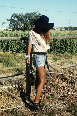 pink lace Mango top - black Zara hat - black Chanel bag