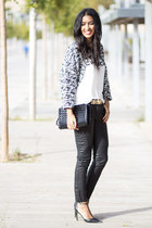 white Stradivarius t-shirt - charcoal gray H&M coat - dark gray Zara pants