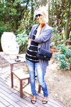 blue H&M jeans - black Chanel purse - black Mango t-shirt - gray BLANCO cardigan
