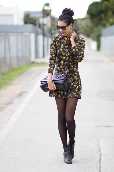 black Zara boots - dark gray JollyChic dress