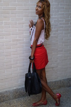 red BLANCO skirt - red Martoni shoes - white Bershka shirt